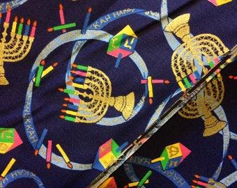"Judaic Fabric Gold Menorahs and Dreidels on Dark Blue Happy Hanukkah Half Yard 18"" x 44"""