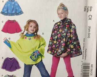 Girls' Ponchos and Arm Warmers Sewing Pattern McCall's 6196 Size Xsm-Sml Uncut Complete