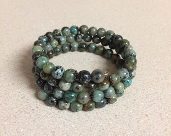 African Turquoise bracelet memory wire