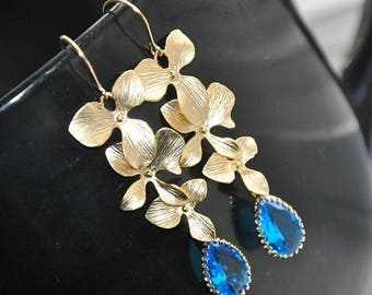 Dangle Earrings, Bridal Earrings, Gold Earrings - orchid triple flowers, blue faceted glass, gold filled ear wires, Fashion Jewelry