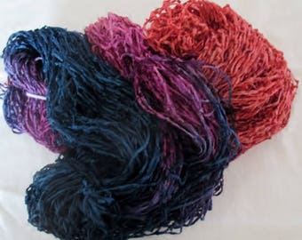 Handpainted Soft Rayon Chenille Yarn  LARKSPUR  -  360 yds