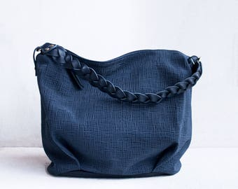 Leather Braid Hobo Bag / Shoulder Bag / Slouch Bag / Blue leather bag / Tote Bag / Leather Tote / Leather Hobo Bag / Blue leather Tote/