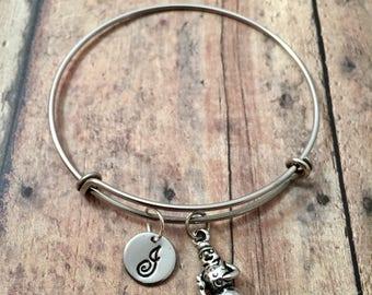 Snowman initial bangle - Christmas bracelet, snowman jewelry, holiday jewelry, Christmas bangle, winter jewelry, silver snowman bracelet