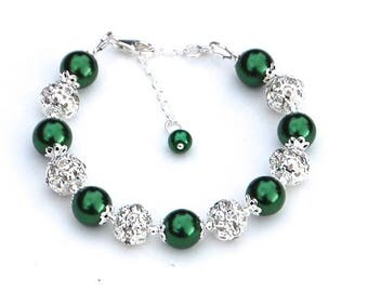 Emerald Green Pearl Bracelet, Bridesmaid Jewelry, Green Wedding, Green Bridesmaid, 20th Wedding Anniversary