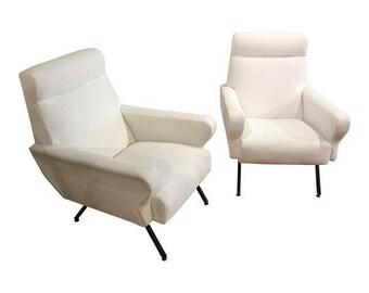 Pair Of Italian Modern Lounge Chairs In White Velvet