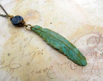 Bohemian jewelry inspiration jewelry gift for her patina Feather necklace pendant necklace boho jewelry