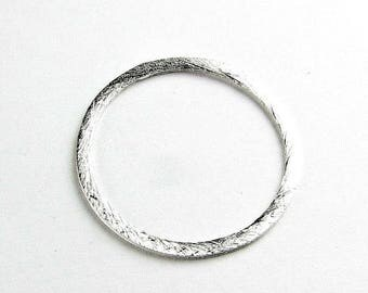 SHOP SALE 25mm Flat Circle Shaped Bali Bright Sterling Silver Brushed Line Texture Loop Connector Eternity Rings Links (2 beads)