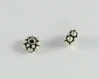 SHOP SALE 8mm Rondelle Bead Bali Sterling Silver Fancy Thick Dotted Rondelle Bead Spacer Bead Antiqued (2 pieces)