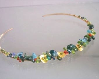 Gemstone Collar Necklace, Hand Wrought Gold Filled Choker Encrusted with Sapphire, Emerald, Peridot, Green Tsavorite, Vintage Orange Coral