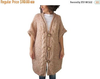 20% WINTER SALE Salmon Wool Hand Knitted Cardigan Plus Size Over Size