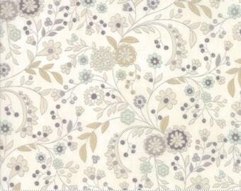Maven Fabric - Half Yard - Moda Fabric Floral Flowers on Cream White Cotton Quilt Fabric Basicgrey Basic Grey Gray 30463 19