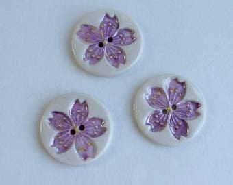 Handmade Porcelain Buttons, Set of Three, Sakura