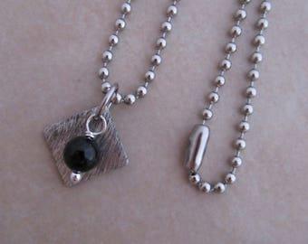 black onyx necklace silver soldered copper girls women