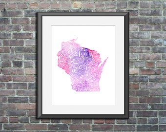 Wisconsin watercolor typography map art unframed print state poster wedding graduation gift anniversary wall decor lake house