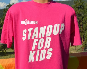 vintage 90s t-shirt glow in the dark STAND UP for kids outreach homeless charity tee XL Large pink wtf
