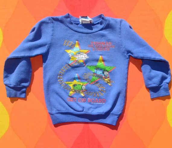 vintage 90s sweatshirt kids THOMAS tank engine friends cartoon toddler 6 Small