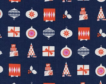 Noel Wrapped Up in Navy Blue - Noel Collection by Cotton + Steel Fabrics - 100% cotton quilting fabric by the yard