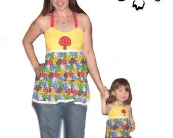 Grateful Dead Apron top, Matching Mommy and daughter tops, Handmade hippie patchwork apron top,Grateful dead patchwork tops, festival top