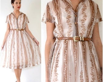 SUMMER SALE / 20% off Vintage 50s 60s Brown and White Floral Striped Sheer Organza Shirt Waist Dress (size medium)