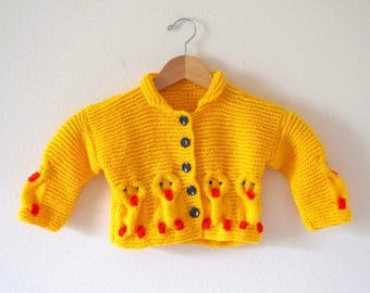 SUMMER SALE/ 30% off Vintage 80s 90s Little Chickadee Yellow Knit Baby Cardigan