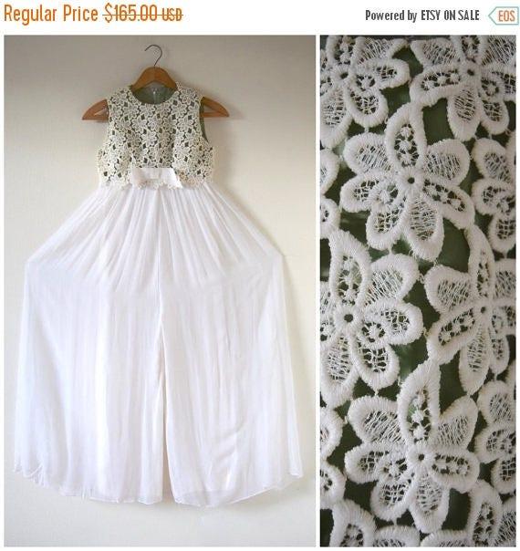 SALE SECTION / 50% off Vintage 60s 70s White Chiffon Crocheted Bodice Empire Waist Palazzo Pant Jumpsuit (size xxs, xs)