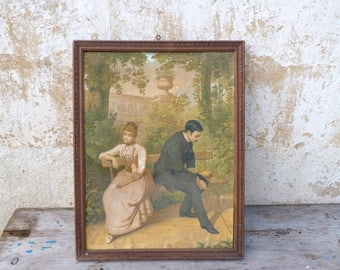 ON SALE Vintage Antique 1900 French framed chromolithograph Lovers on a bench
