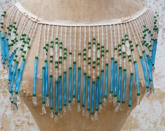 Vintage 1920 Art deco French exquisite batch of glass bead fringes trim for lampshade