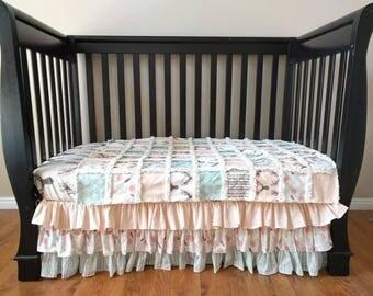 Woodland Crib Set for Baby Girl  - Woodland Nursery Bedding - Pink Mint Green Baby Bedding Bumperless Bedding - Crib Sheet - Crib Skirt