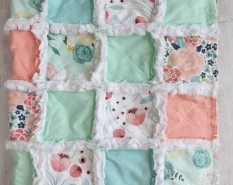 Floral Rag Quilt - Coral, Mint Green, and Aqua Blue Baby Quilt - Baby Girl Blanket - Watercolor Floral Quilt - Baby Shower Gift