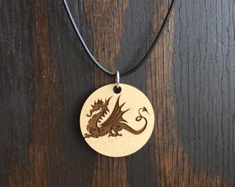 Dragon wood pendant Necklace