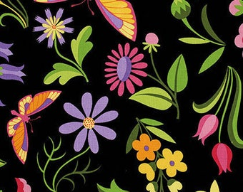 Jane Sassaman Fabric, Sweet Lady Jane Collection, Party Frock in Rose , Floral, Black, Yellow - FAT QUARTER