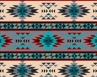Tribal Stripe, Turquoise Gray, Fabric by David Textiles, Southwestern, Cotton Fabric - FAT QUARTER