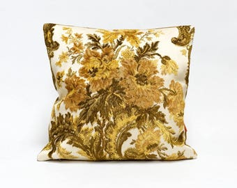Velvet Throw Pillow 16x16, vintage fabric, floral cushion cover, AOK pillow cover, designer pillow Handmade by EllaOsix