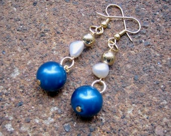 Eco-Friendly Dangle Earrings - Starry Night - Recycled Tiny Vintage Goldtone Round Metal Beads and Plastic Pearls in Deep Blue and White