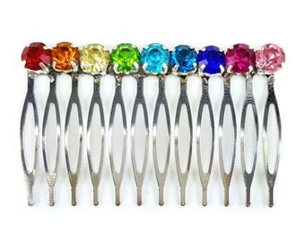 Rainbow Hair Comb -Rainbow Hair Accessories, Rainbow Crystal Hair Comb, Rainbow Hair Piece