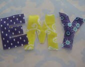 Custom Sewn Fabric Applique Letters Embellishment EMY