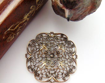 ANTIQUE BRASS Embellishment Openwork Dapt Filigree Stamping ~ Jewelry Ornamental Oxidized Findings (CB-3053)
