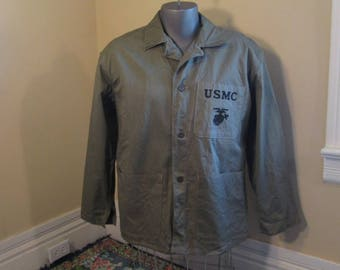 HBT WWII USMC Fatigue Shirt 40s vintage Military Keystone Mfg Co NOm 38200 size 40 Green Herringbone Twill M