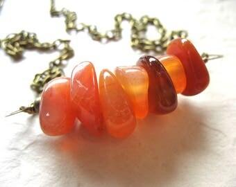 Agate Necklace, Orange Agate Gemstone Necklace, Agate Jewelry, Orange Necklace, Statement Necklace, Gemstone Jewelry, Agate Necklace