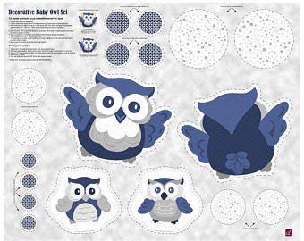 Baby Boutique-QT Fabrics-Owl Applique-Stuffed Animal Fabric Panel