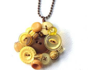 BUTTON JEWELRY SALE Big Sunflower Yellow and Brown Vintage Button and Bead Pendant