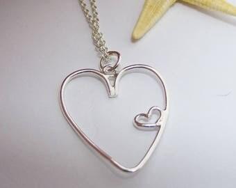 Delicate Silver Double Heart Pendant, unique delicate new jewelry