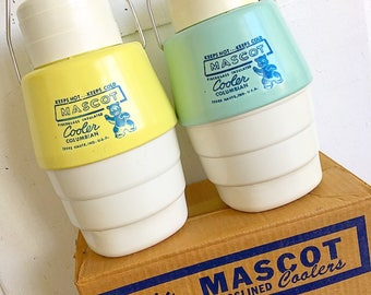 You're So Cool... Vintage Mascot Glasslined Coolers Twin Pack Original Packaging New Old Stock Camping Jugs Retro Pastel Thermos