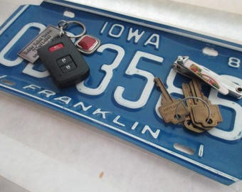 Repurposed License Plate Coin and Key Tray - Rustic Iowa Plate - FREE SHIPPING  - Serving Tray - Candy Dish - Gift