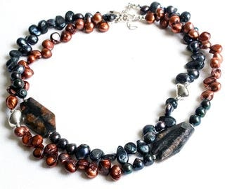 Black and Brown Pearl Necklace  Pearl and Gemstone Necklace  Modern Freshwater Pearl Necklace