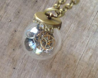 Watch Parts Necklace Globe Steampunk Vintage Retro Recycled Jewelry