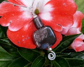 square pendant necklace rose blue rhyolite gemstone jewelry pink rose rhodonite handcrafted sterling silver swirl jewelry