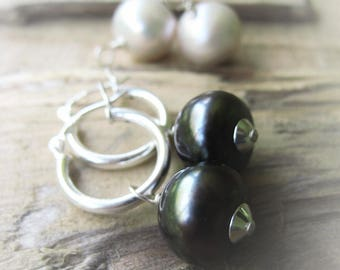 Tahitian Color Pearl Earrings Baroque Pearl Earrings White Pearl Earrings Sterling Earrings JE2323