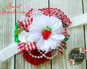 RTS Strawberry Red and White Glamour Bloom Hair Flower clip headband county fail