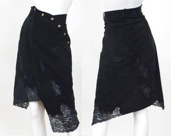 Christian Dior by John Galliano Black Suede Asymmetrical Hem Lace Skirt Sz L 12 44